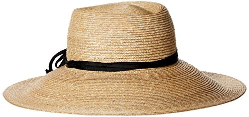Gottex Women's Capri Fine Milan Sun Hat With Ribbon Trim, Rated UPF 50+ For Max Sun Protection, Natural/Black, Adjustable Head - Sunglasses Hilton Head