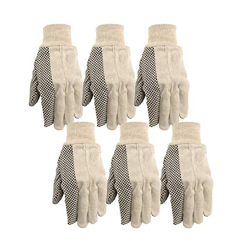 Poly Cotton Canvas Gloves - Wells Lamont Canvas Work Gloves, Economy Dotted, 6 Pair Pack (309K)