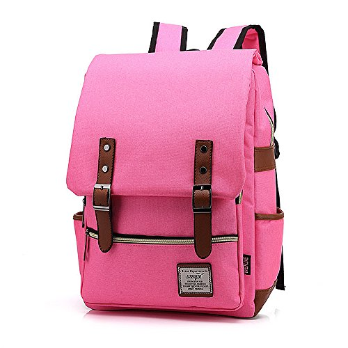 (Mn&Sue British Style Casual Unisex Professional Waterproof Oxford Fabrics College School Daypack Multi-Compartment Laptop Backpack Modified Version for Macbook, Surface Pro, Tablets (Medium, Hot)