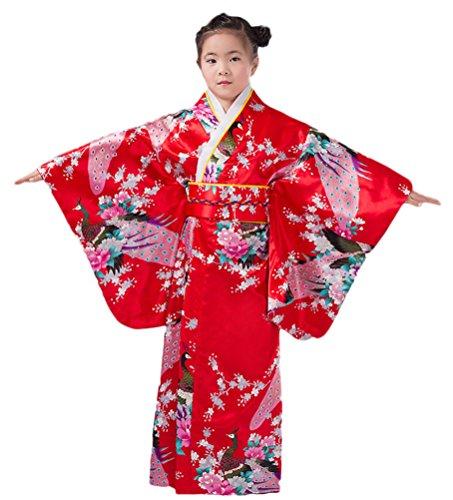 Soojun Kids Girls Floral Traditional Japanese Kimono Yukata Costumes (Yukata Costume)