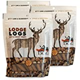 The Original DOG Lodge Logs Dog Snacks - Grain-Free Natural Soft Chewy Dog Treats Lamb, Blueberries Oats - 3-6 Ounce Resealable Bags