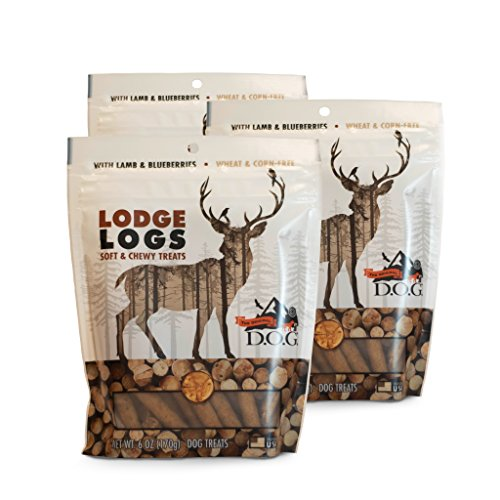 The Original DOG Lodge Logs Dog Snacks – Wheat-Free Natural Soft and Chewy Dog Treats with Lamb, Blueberries and Oats, 3-6 Ounce Resealable Bags ()