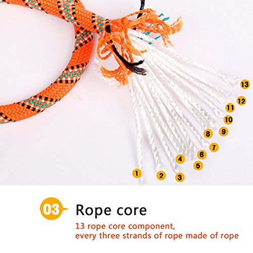 Outdoor Climbing Rope LUOOV 10M(32ft) 20M(64ft) 30M (98ft) 50M (160ft)Safe Utility Rope,Rock Escape Rope,Static Rope,8mm Diameter Rope