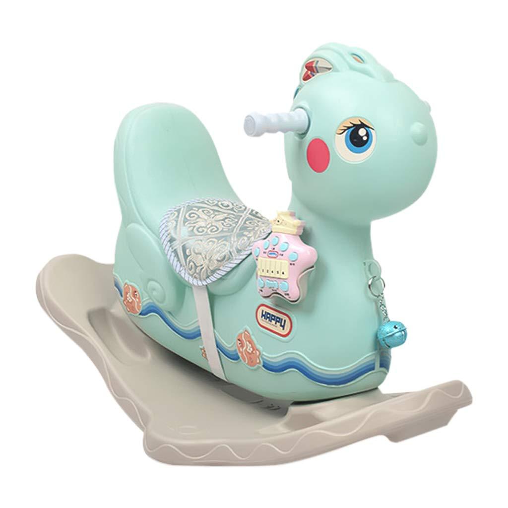 Cavallo a dondolo HUYP Giocattolo per Bambini con Musica di Ispessimento in Plastica Cavallo di Troia Regalo di Compleanno (colore   verde)
