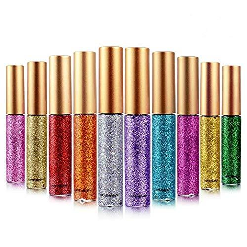 ALINICE 10 color Eyeliner Glitter Shimmer Pigment Silver Gold Metallic Liquid Glitters Eyeliner