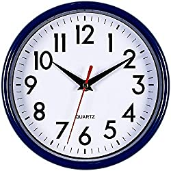 Bernhard Products - Navy Blue Wall Clock 8 Silent Non-Ticking Quality Quartz Battery Operated Small Clock for Boys/Kitchen/Classroom/Office/Nursery Room Easy to Read (Navy Blue)