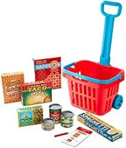 Melissa & Doug Fill & Roll Grocery Basket Play Set (Play Food, Durable Construction,