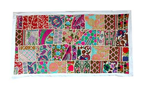 Rastogi Handicrafts - Tapiz para colgar en la pared (blanco, 50,8 x 101,6 cm)