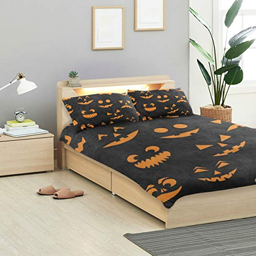 IDO Orange Halloween Pumpkin Cat Kids Bedding Comforter Cover Sets Ultra Soft Crystal Velvet Cotton Satin Hotel Collection-Decorative 3 Piece Bedding Set with 2 Pillow Shams, Multicolor]()