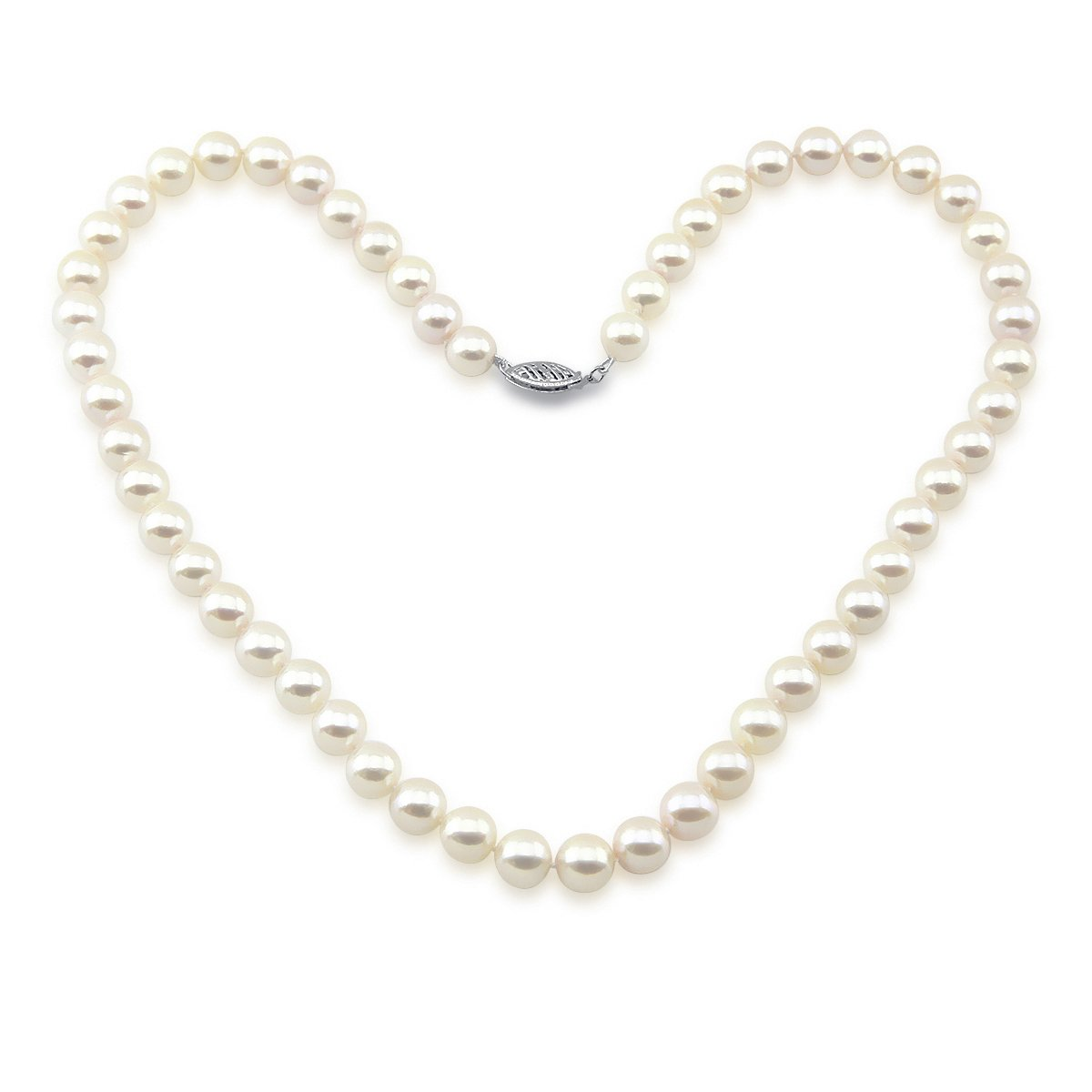 14K White Gold 7.0-7.5mm White Akoya Cultured Pearl High Luster Necklace 18'' Length, AA+ Quality.