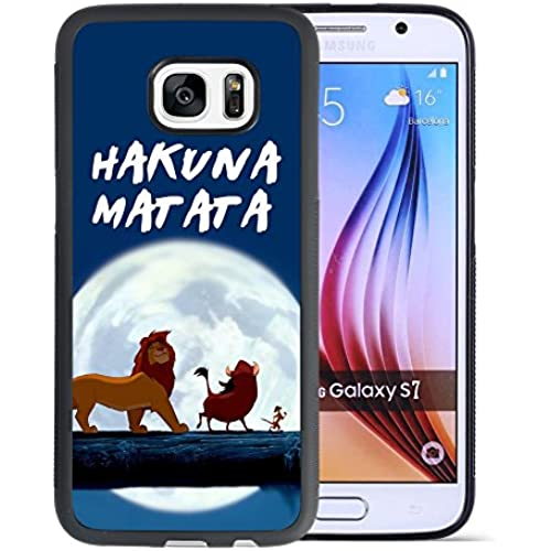 The Lion King Samsung Galaxy S7 Case, Onelee[Never fade] Disney Cartoon The Lion King Hakuna Matata Samsung Galaxy S7 Case Black Soft Rubber TPU Anti Slip Sales