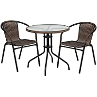 Skovde 3-pcs Table Set Round 28 Glass w/2 Dark Brown Rattan Stack Chairs