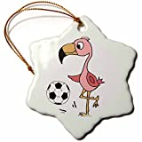 3dRose Silly Funny Cute Pink Flamingo Bird Playing Soccer Snowflake Ornament, 3''