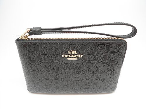 (Coach F58034 Black Signature Debossed Patent Leather Corner Zip Wristlet)