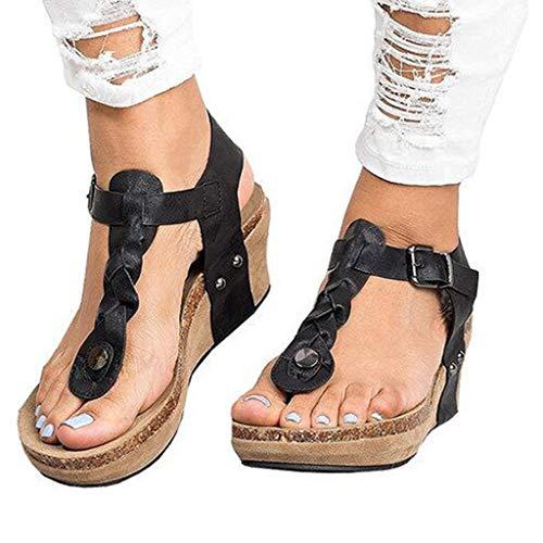 (Women's Aditi Low Wedge Dress Sandals Casual Flip Flops Buckle Strap Wedges Sandals Platforms Shoes Black)