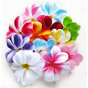 "(100) Assorted Hawaiian Plumeria Frangipani Silk Flower Heads - 3"" - Artificial Flowers Head Fabric Floral Supplies Wholesale Lot for Wedding Flowers Accessories Make Bridal Hair Clips Headbands Dress 7"