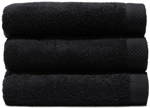 Lasa Juego Toallas, algodón 100%, Negro, Baño (100 x 150 cm ...