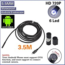 OurWarm 3.5M USB Waterproof Borescope 5.5mm Android Endoscope Inspection Tube Camera with 6LED for Android Device with OTG Function