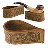 Handmade genuine leather stand holder for tobacco smoking pipe