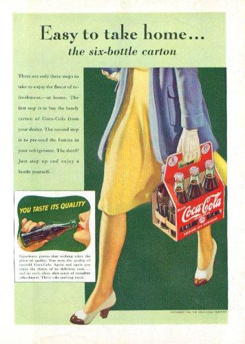 Easy to take home 6-bottle carton Coca-Cola ad 1941 Time - Carton Magazine