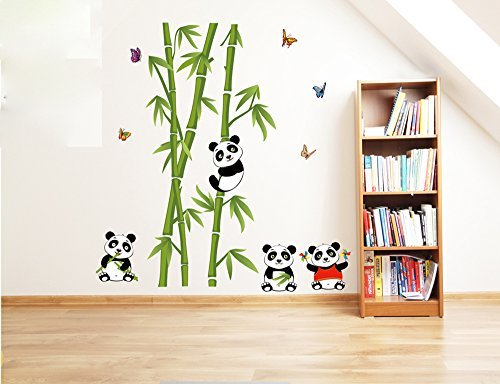 ufengke® Green Bamboo Cute Panda Butterflies Wall Decals, Living Room Bedroom Removable Wall Stickers Murals