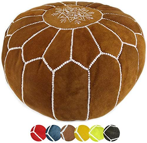 Moroccan suede Leather Pouf