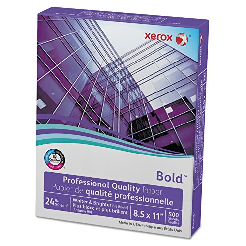 Xerox 3R13038 Bold Professional Quality Paper, 98 Bright, 8 1/2 x 11, White, 500 Sheets/RM (Xerox Color Printers Free)