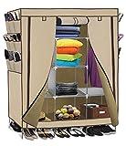 Smart-Home 69'' Portable Closet Storage Organizer Clothes Wardrobe With Shoes Rack Shelves [Beige, 69'' (L) x 51: (W) x 17.5'' (D)]