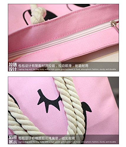 rosa4 Bolsos Tote Cara CTOOO Mujer Bolso Shopper De De Bandolera Sonriente Impresión Lona gWRqTyc