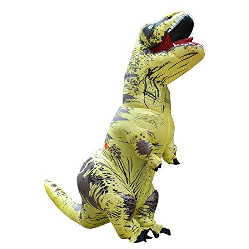 Halloween Adult Inflatable Jurassic Dinosaur T-rex Costume Fancy Dress Cosplay Suit Yellow -