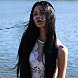 HEAHAIR Black Straight Synthetic Lace Front Wigs With Baby Hair For Women