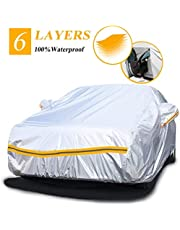 Car Cover Waterproof All Weather SUV JEEP Car Cover for Sedan Outdoor 6 Layers with Zipper Windproof Snow-Proof Dust-Proof Scratch Resistant Full Car Cover