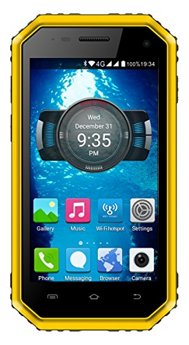 E&L Proofings W6 4.5 Inch Waterproof Dustproof Rugged Smart Phone Dual Camera Android 6.0 Tough Outdoor Phones Unlock AT&T and T-Mobile Version (Yellow)