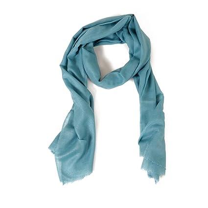 mejor sitio web 2bf87 6dbc6 HINZE (SH112) Bufanda elegante de seda/lana, color: turquesa, tamaño: 70 x  200 cm, bufanda lujosa, unisex, para invierno y verano