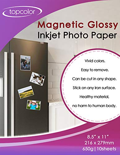 - Topcolor Premium Magnetic Photo Paper 8.5' x 11' Glossy - 10 Sheets Photo Magnets for Refrigerator, Fridge Inkjet Printer Photographic Paper for Dye Ink, Cut Freely