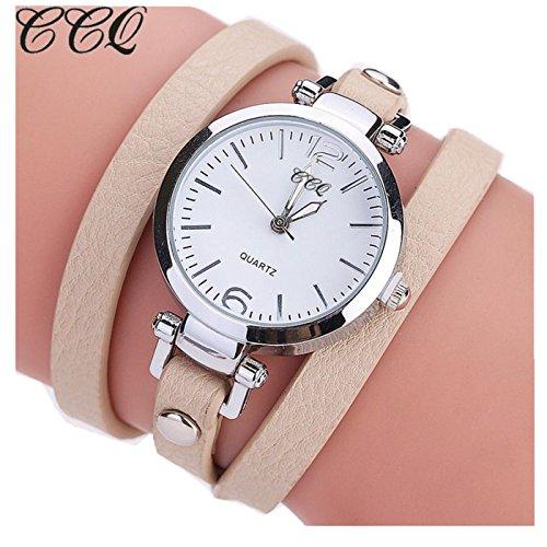 Sunward Women Girl Watches Charm Wrap Around Leatheroid Quartz Wrist Watch Girlfriend Gift (E)