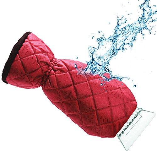 Dragon Squama Ice Scraper Mitt for Car Windshield Snow Scrapers with Waterproof Glove Lined of Thick Fleece + Carry Pouch (Red)