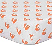 Orange Fox on Grey Print Fitted Crib Sheet - 100% Cotton Baby Boy and Girl Forest Animal Theme Nursery and Toddler Bedding
