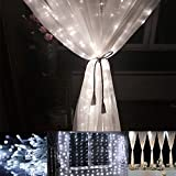 LE LED Window Curtain Icicle Lights, 306 LED String Fairy Lights, 9.8ft x 9.8ft, 8 Modes, Daylight White, Christmas/Thanksgiving/Wedding/Party Backdrops Decorative Lights, UL Listed