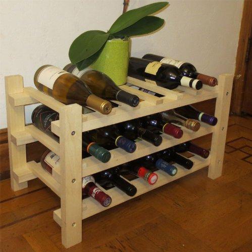 18 Bottle Capacity Wine Rack Storage Shelves, Solid Wood, WN18