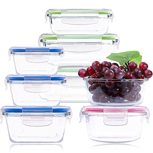 BAKHUK Glass Containers Set, 16 Glass Lunch Boxes with Lids for Food Storage and Food ()