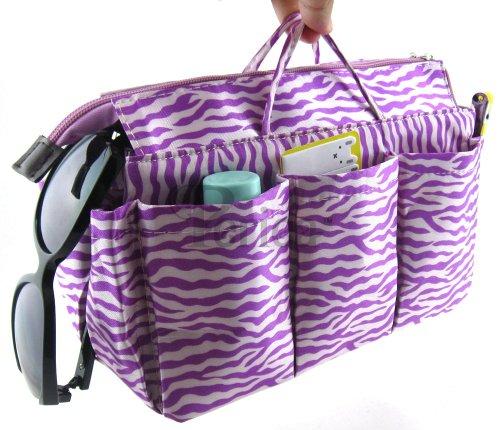 - Periea Handbag Organizer - 15 Color Options (Purple with White Zebra Print)