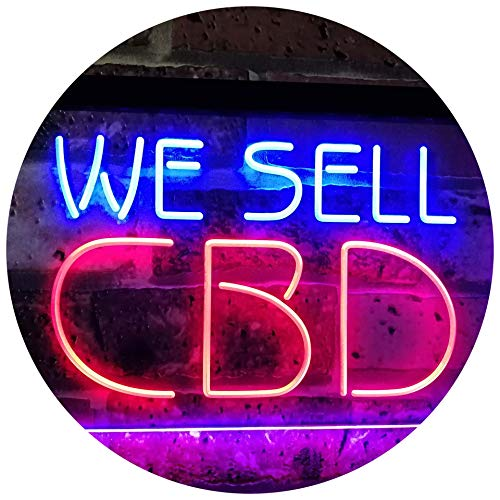"""Price comparison product image AdvpPro 2C CBD Oil Sold Here Dual Color LED Neon Sign Red & Blue 12"""" x 8.5"""" st6s32-i3091-rb"""