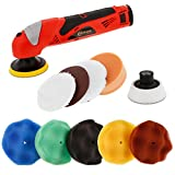 Custom Shop Professional 3' Cordless Mini Rotary Polisher Kit with 8-3' Polishing Pads, 2 Backing Plates - 12V Lithium-Ion Battery & Charger - Polish Cars, Motorcycles, Restore Headlights