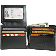 Shvigel Bifold Men's Wallet made of Genuine Leather with RFID-Blocking and ID Window (Black)