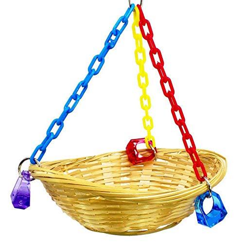 Jialansm Swing Basket for Parrot, Bird Toys Natural Bamboo Weaving Basket Rest Nest for Parakeet, Mini Swing Toy for Finches Lovebirds Canary Doves