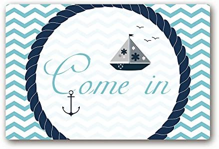 AILOVYO Come in Nautical Sail Theme Chevron Rubber Non-Slip Entry Way Floor Mat Outdoor Indoor Decor Rug Doormats for Kid s Room, 23.6 x 15.7