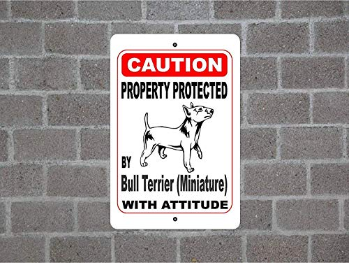 Dozili Metal Signs Home Decor Sign Property Protected by Bull Terrier (Miniature) Guard Dog Warning Breed Metal Plaque for Outdoor Indoor Use Yard Fence Sign 8