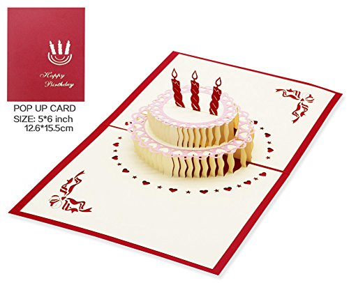 Wish 3D Birthday Cake, Pop Up Anniversary Cards, Handmade Pop Greeting Card Pop Up (Birthday Card) -