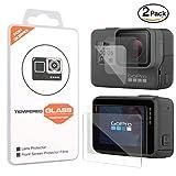 MoKo GoPro Hero 6 / 5 Lens & Screen Protector - [2 Pack][Scratch Terminator] Premium HD Clear 9H Hardness Tempered Glass Screen Protector Film + Lens Protection Film for GoPro Hero5 / Hero6